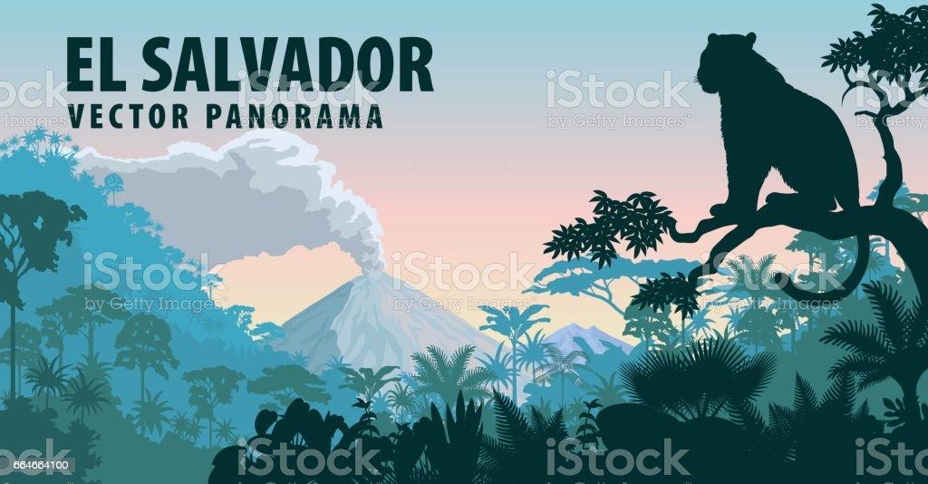 vector panorama of El Salvador with jungle raimforest and jaguar vector art illustration
