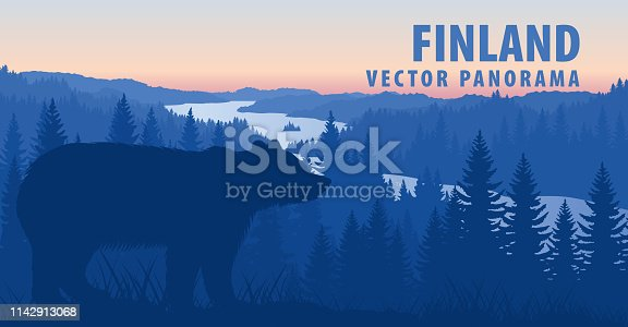 vector panorama of Finland with brown bear