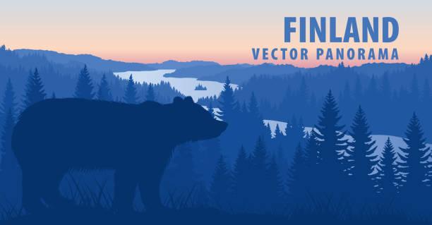 stockillustraties, clipart, cartoons en iconen met vector panorama van finland met bruine beer - wildplassen