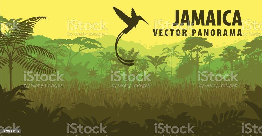 vector panorama of Jamaica with jungle and hummingbird