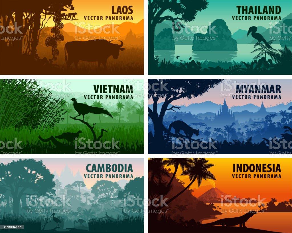Vector panorama of Laos, Vietnam, Cambodia, Thailand, Myanmar, Indonesia vector art illustration