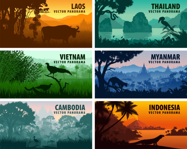 Vector panorama of Laos, Vietnam, Cambodia, Thailand, Myanmar, Indonesia Vector panorama of Laos, Vietnam, Cambodia, Thailand, Myanmar, Indonesia indonesia stock illustrations