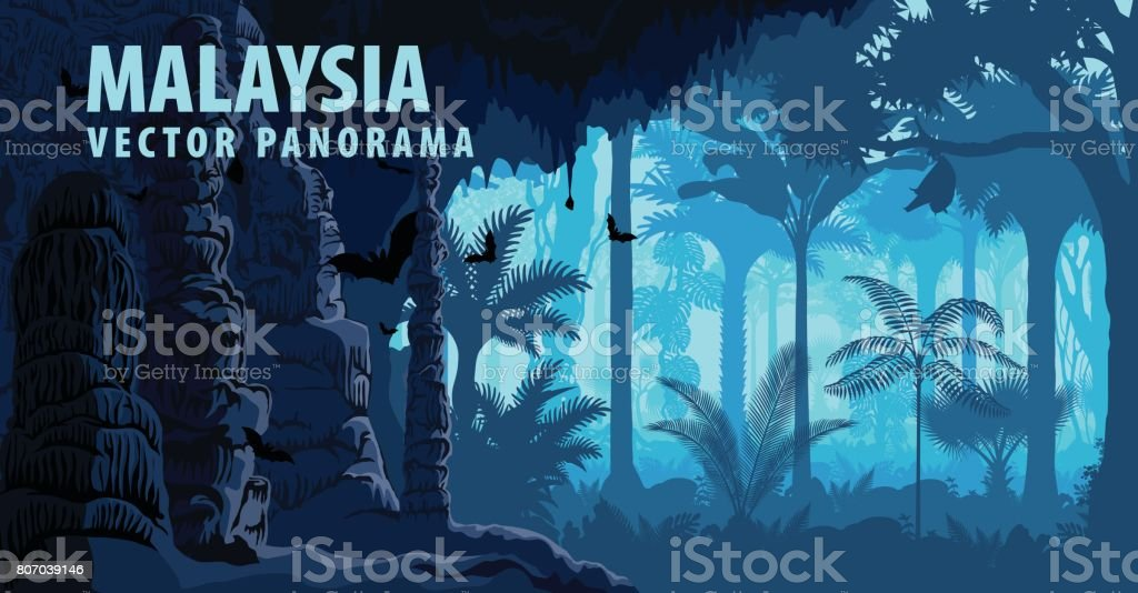 vector panorama of Malaysia with jungle raimforest, carst cave and bats vector art illustration