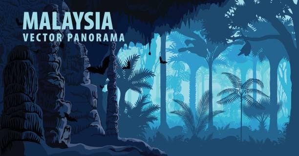 vektor-panorama von malaysia dschungel raimforest, karst-höhle mit fledermäusen - megabat stock-grafiken, -clipart, -cartoons und -symbole