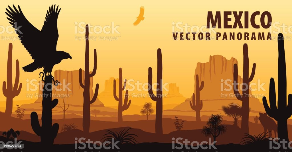 vector panorama of Mexico with eagle in desert vector art illustration