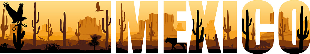 vector panorama of Mexico with eagle, Mexican wolf and roadrunner in desert