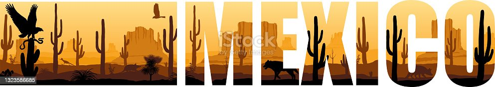 istock vector panorama of Mexico with eagle, Mexican wolf and roadrunner in desert 1323586685