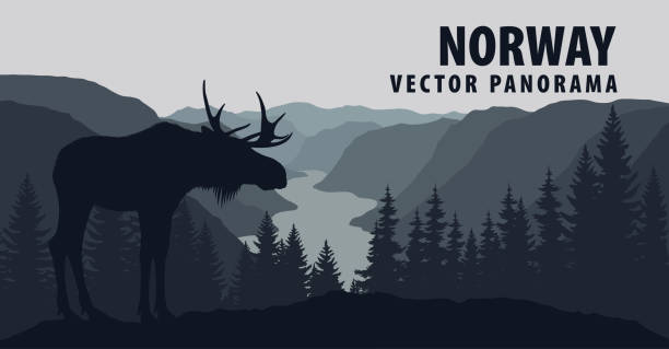 vector panorama of Norway with moose vector panorama of Norway with moose norway stock illustrations