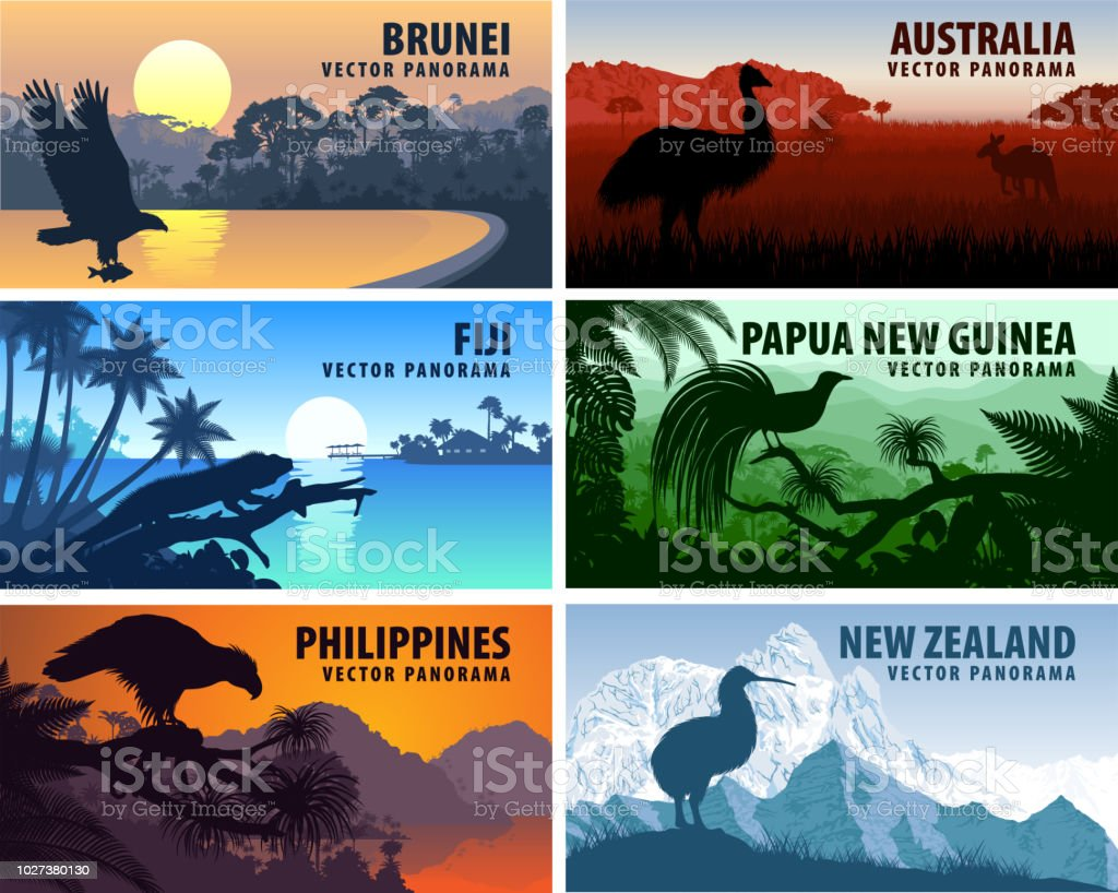 Vector panorama of Philippines, Australia, New Zealand, Brunei Darussalam and Papua New Guinea vector art illustration