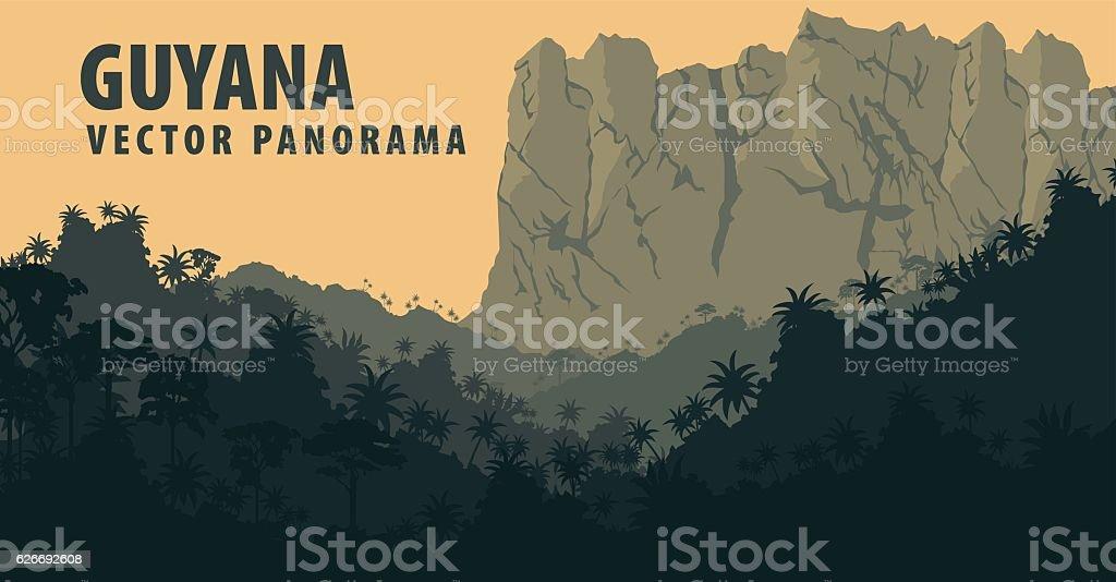 Vector panorama with Jungle Rainforest of Guyana, South America - ilustração de arte em vetor