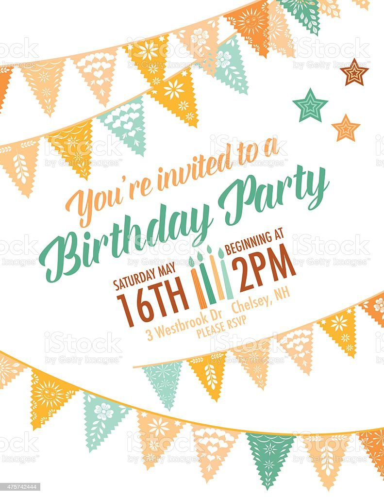 Vector Papel Picado Birthday Invitation Template Stock Vector Art - Birthday invitation background vector