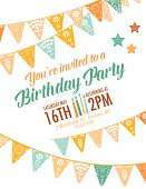 Template of a birthday party invitation.  The invitation is set against a white background.  The top of the invitation features four rows of Papel Picado flag banners that cross one another. There are birthday candles between the date and time and stars. Orange and green