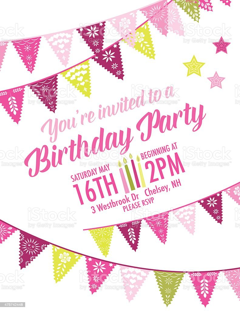 Vector Papel Picado Birthday Invitation Template Stock ...