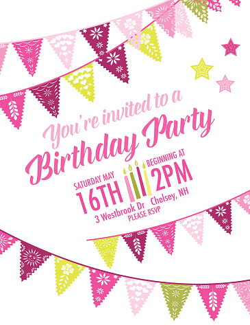 Vector Papel Picado birthday invitation template