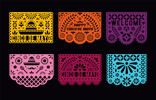 Vector Papel Picado cards set. Mexican paper decorations for party. Cut out compositions for paper garland. May 5, mexican holiday Cinco de mayo.
