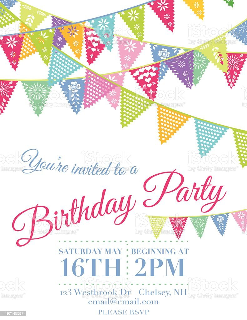 Vector Papel Picado Flags Birthday Invitation Template Stock