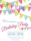 Template of a birthday party invitation.  The invitation is set against a white background.  The top of the invitation features four rows of Papel Picado flag banners that cross one another. Below the banners is the text with a smaller set of flags.