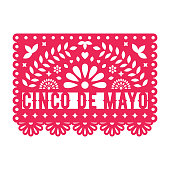 Vector Papel Picado greeting card with floral and decorative elements. Cinco de mayo. Paper cut template. Mexican paper garland.