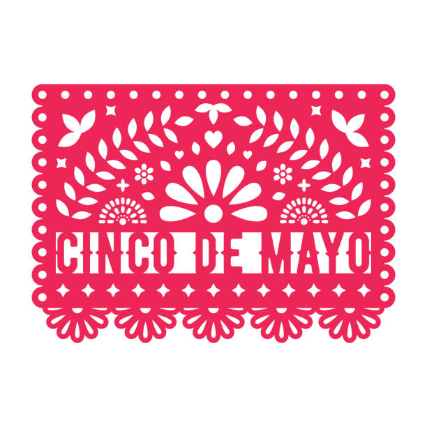 Vector Papel Picado greeting card with floral and decorative elements. Cinco de mayo. Paper cut template. Mexican paper garland. Vector Papel Picado greeting card with floral and decorative elements. Cinco de mayo. Paper cut template. Mexican paper garland. cinco de mayo stock illustrations