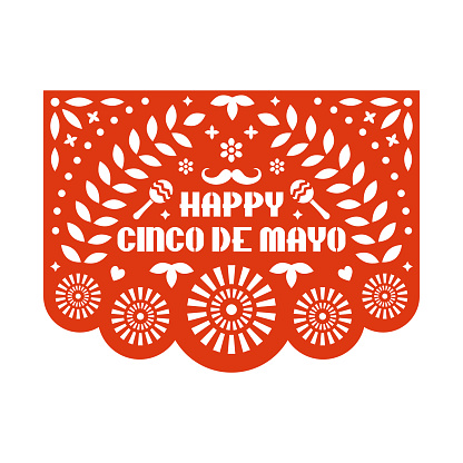 Vector Papel Picado greeting card with floral pattern and text. Happy Cinco de mayo. Paper cut template. Mexican paper garland.