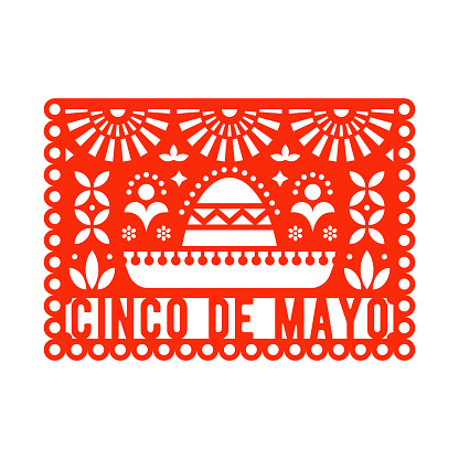 Vector Papel Picado greeting card with sombrero and decorative elements. Cinco de mayo. Paper cut template. Mexican paper garland.