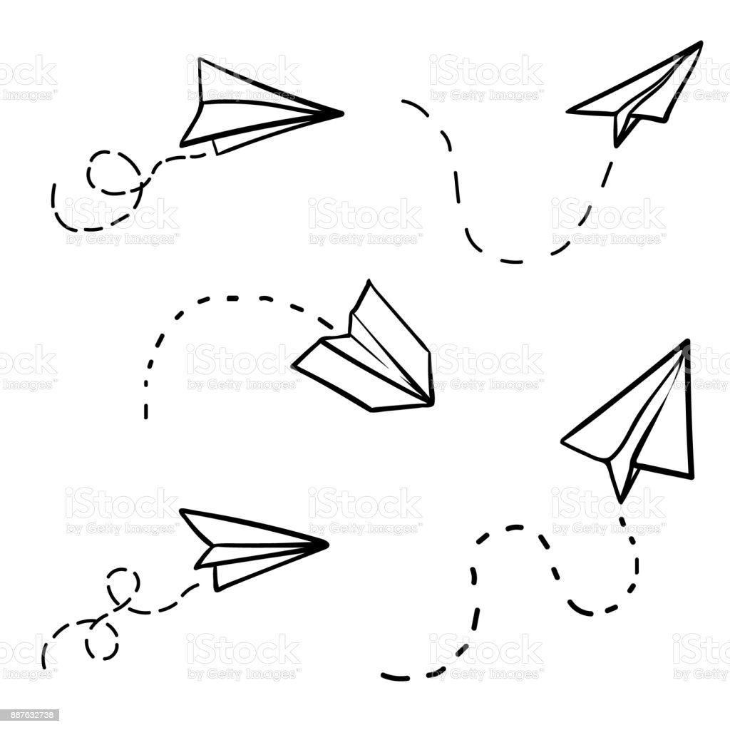 Vector Paper Airplane Travel Route Symbol Set Of Illustration Hand Drawn
