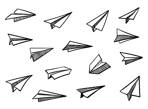 Vector Paper Airplane Travel Route Symbol Set Of Vector Illustration Of Hand Drawn Paper Plane Isolated Outline Hand Drawn Doodle Airplane Black
