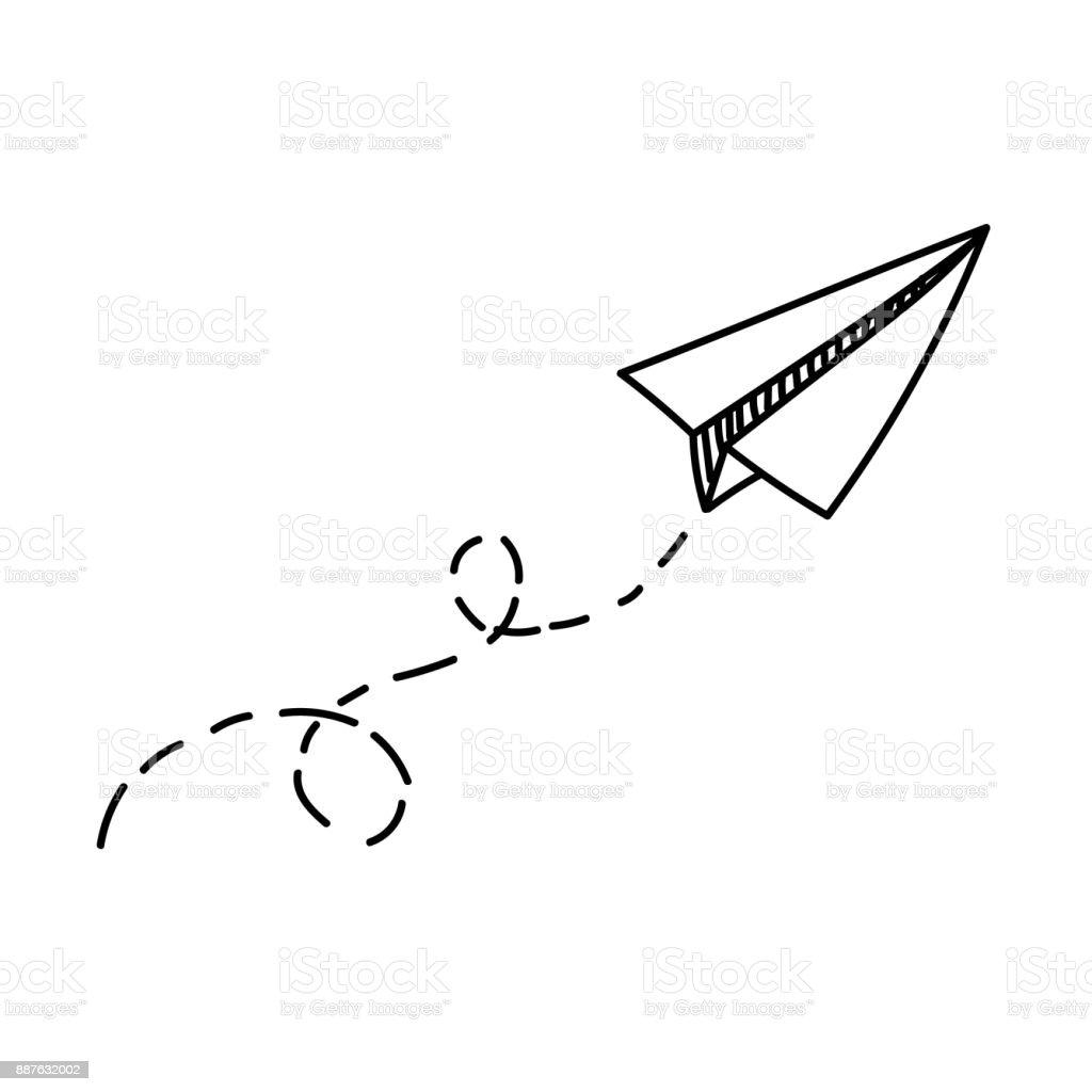 Vector paper airplane travel route symbol vector illustration of vector paper airplane travel route symbol vector illustration of hand drawn paper plane buycottarizona Gallery