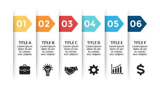 Vector paper arrows infographic, banners diagram, labels graph, stickers presentation chart. Business concept with 6 options, parts, steps, processes. Slide template