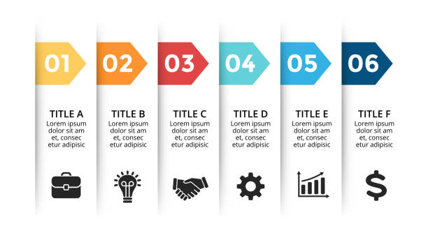ステッカー プレゼンテーション グラフ ラベル グラフ、バナー図紙矢印インフォ グラフィックをベクトルします。6 のオプション、部品、ステップのビジネス コンセプトを処理します。ス� - ステップ点のイラスト素材/クリップアート素材/マンガ素材/アイコン素材