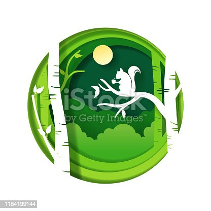 Vector paper art and digital craft style of Green forest  and Squirrel with chestnut, eps 10 vector.