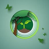 Vector paper art and digital craft style of world wildlife and eco green forest, world environment and ecology concept. eps 10 vector.