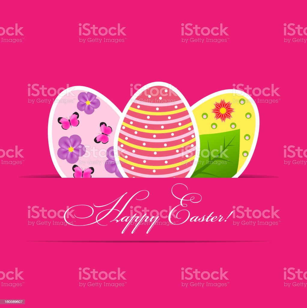 Vector  Paper card with  easter eggs royalty-free stock vector art