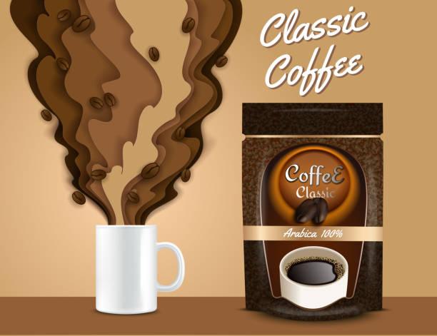ilustrações de stock, clip art, desenhos animados e ícones de vector paper cut 3d coffee poster, banner template - café solúvel