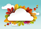Vector paper cut autumn leaves and cloud shaped frame