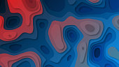 Vector paper cut background. Abstract origami wave design. Topographic map illustration.