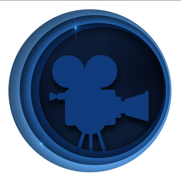 illustrations, cliparts, dessins animés et icônes de le papier vectoriel a coupé des décorations de cinéma avec le projecteur de film, le public dans le cadre de cercle. mise en page de conception pour l'affiche ou la bannière de festival de cinéma, dépliant, carte, couverture de brochure. style abstra - camera sculpture