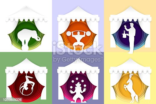 Circus poster, banner, logo, card template set. Vector paper cut bodybuilder with barbell, magician performing trick, clown juggling balls, aerial acrobatic and circus animal show.