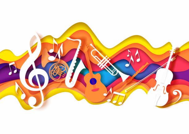 wektor papieru cięcia rzemiosła stylu kompozycji muzycznej dla koncertu jazzowego festiwalu strona plakat banner karty - muzyka stock illustrations