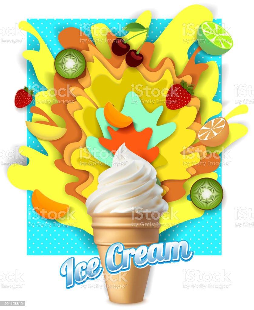 Vector Paper Cut Fruit Ice Cream Poster Template Stock Vector Art