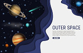 Outer space web banner template. Vector paper cut sky, planets, comet and stars. Space exploration concept, paper art style.