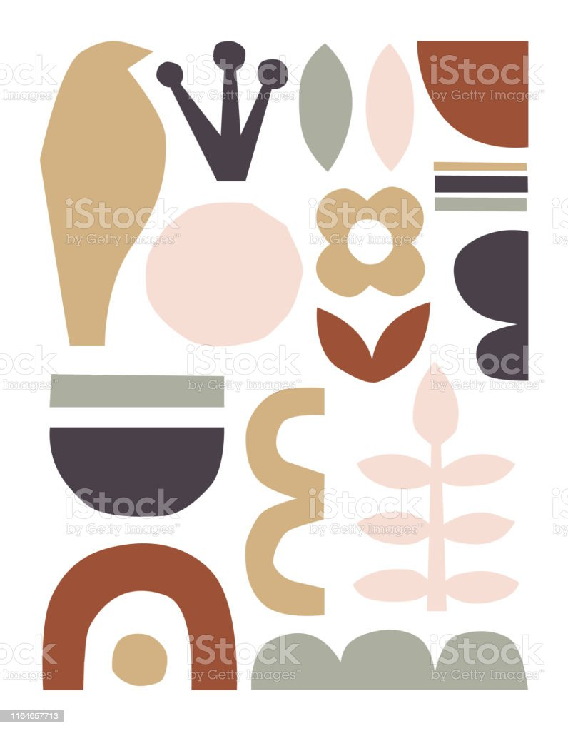 Vector paper cut pieces. Trendy abstract Paper cutouts collage. Hand...