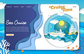Sea cruise landing page website template. Vector paper cut cruise liner floating on ocean waves, dolphins, seagulls, islands, tourist resorts. Sea travel, cruise time concept.