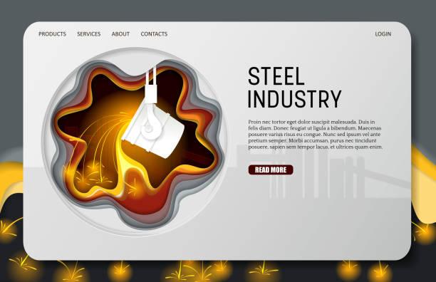 vektor scherenschnitt stahlindustrie landung seite website-templates - metallverarbeitung stock-grafiken, -clipart, -cartoons und -symbole