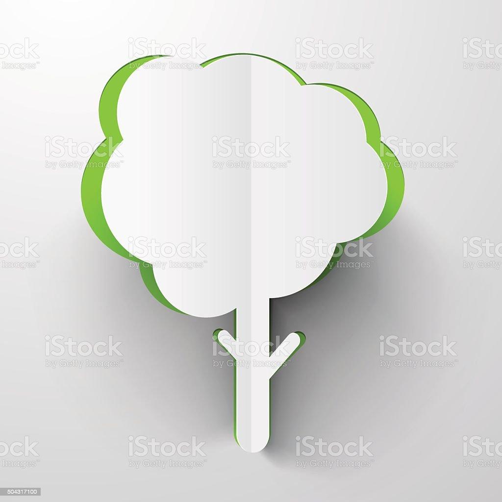 Vector Paper Cut Tree vector art illustration