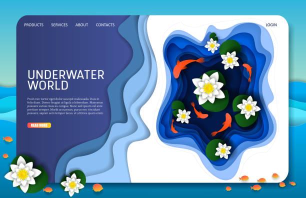 vektor scherenschnitt unterwasserwelt landung seite website-templates - seerosenteich stock-grafiken, -clipart, -cartoons und -symbole
