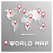 Vector Paper Cut World Map with Bent Corners on Grey Background with Red Labels