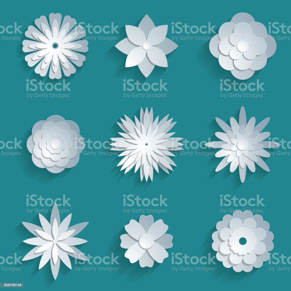 Vector Paper Flowers Set 3d Origami Icons Stock Vector Art More