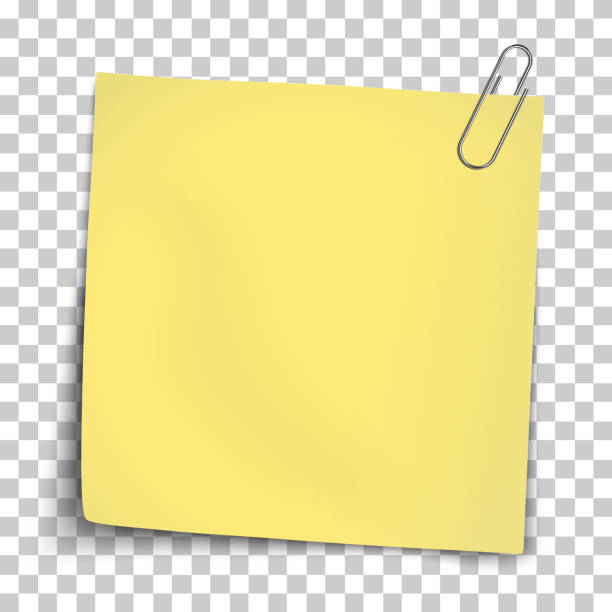 illustrazioni stock, clip art, cartoni animati e icone di tendenza di vector paper mockup of yellow note attached by metallic paper clip placed on transparent background. - post it