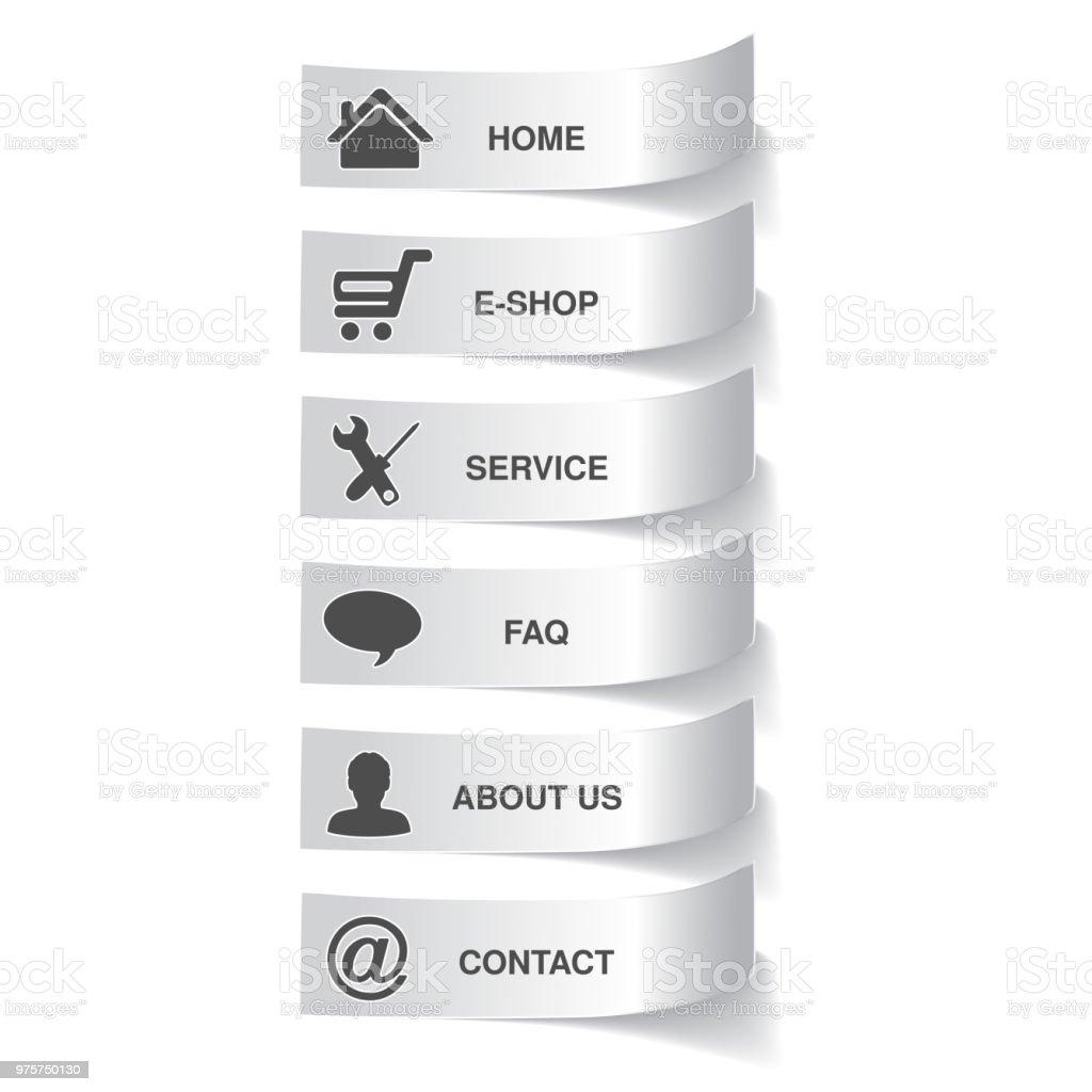 Vektor-Papier-Navigation-Vorlage - 6 Menüpunkte, Optionen - Lizenzfrei Abzeichen Vektorgrafik